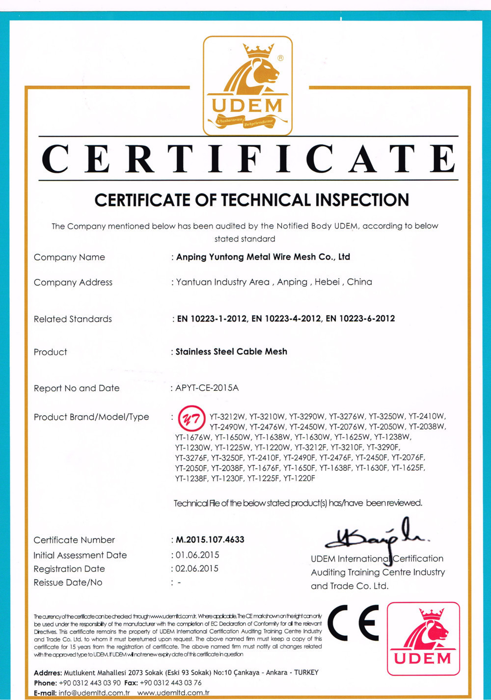 China Anping Yuntong Metal Mesh Co., Ltd. Certificaciones